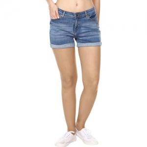 Broadstar Solid Women Blue Denim Shorts