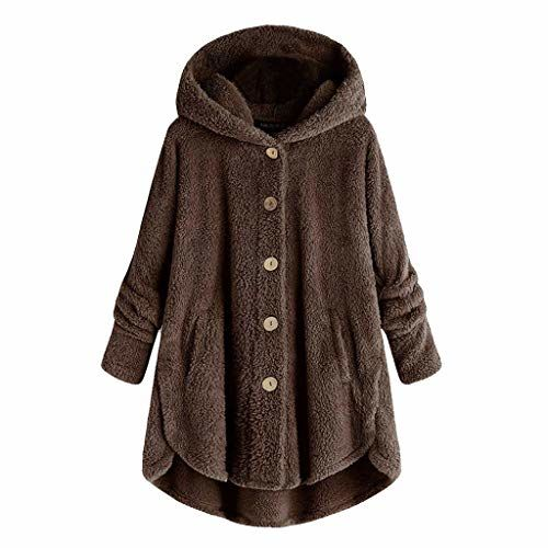 Beishi Women Plush Tops Hooded Tops Coat Plus Size Button Down Loose Cardigan Wool Coat Winter Warm Jacket