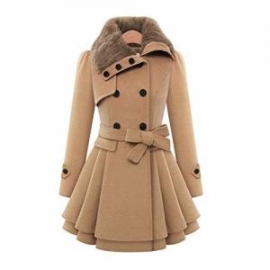 Leoie brown fiber Women Slim Fit Medium Long Woolen Overcoat
