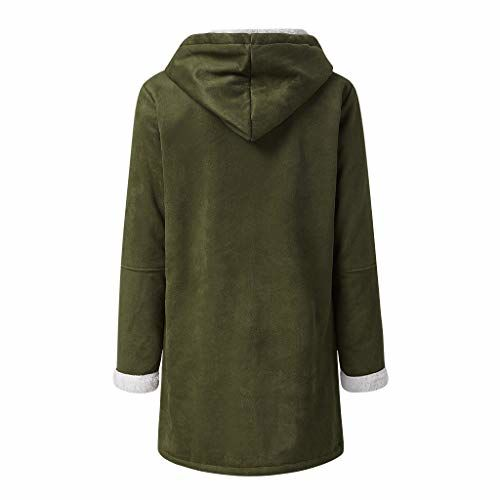 Toodii Women Winter Plus Size Solid Plus Velvet Coat Long Sleeve Horn Buckle Pocket Overcoat