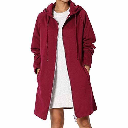 Lavany Womens Trench Coat Hoodie Open Front Long Jacket Overcoat Outwear Slim Coat
