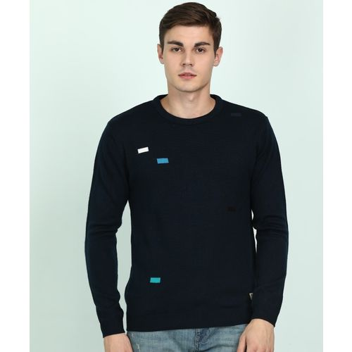 Peter England University dark blue blend round-neck sweater