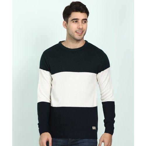 Peter England University Striped Round Neck Casual Men Multicolor Sweater