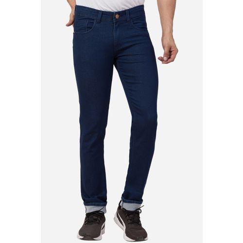WHATON Slim Men Dark Blue Jeans
