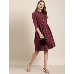 her by invictus Maroon Polyester Solid Shirt Dress
