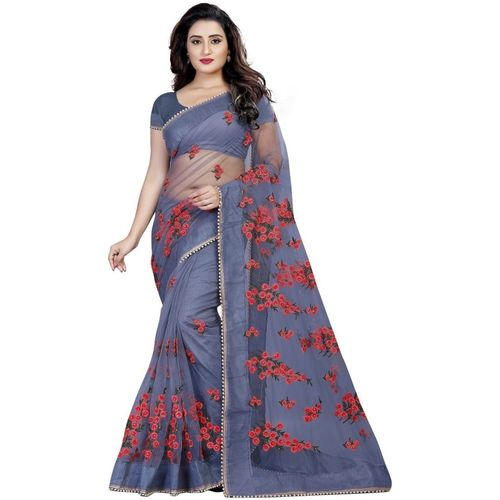 Monrav Embroidered Fashion Net Saree(Grey)