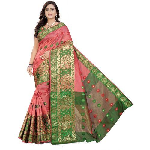 Cartyshop Self Design Banarasi Silk Blend, Cotton Blend, Jacquard, Pure Silk, Cotton Silk Saree(Pink)