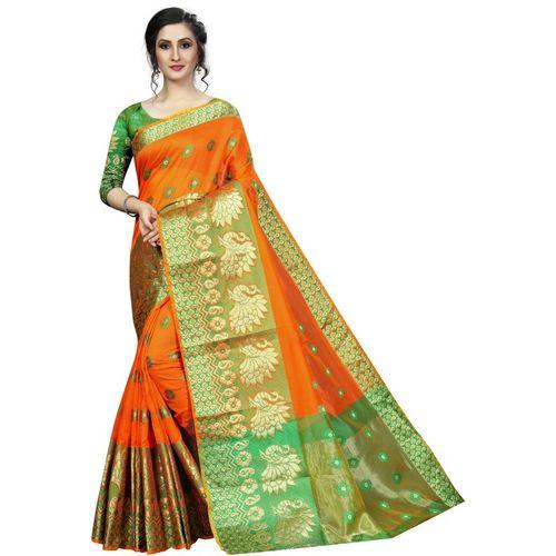 RadadiyaTRD Self Design, Woven, Floral Print Banarasi Cotton Blend, Poly Silk, Cotton Silk Saree(Orange)