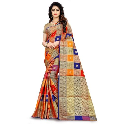 RIVANA Woven, Checkered Patola Jacquard, Raw Silk, Art Silk Saree(Red, Blue, Yellow)