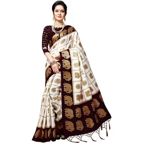 EthnicJunction Embellished, Animal Print Mysore Silk Blend Saree(Black)