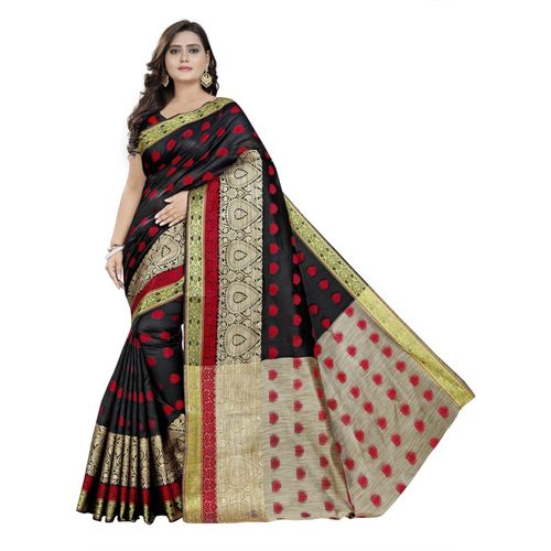Cartyshop Woven Banarasi Pure Silk, Art Silk, Cotton Silk Saree(Black)