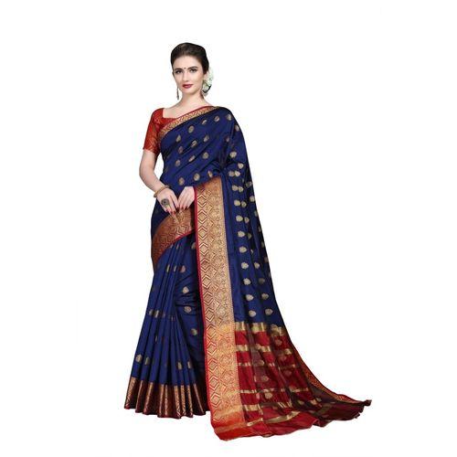 Rola Trendz Self Design, Embroidered, Woven, Embellished Kanjivaram Silk Blend, Jacquard, Art Silk, Cotton Silk Saree(Dark Blue)