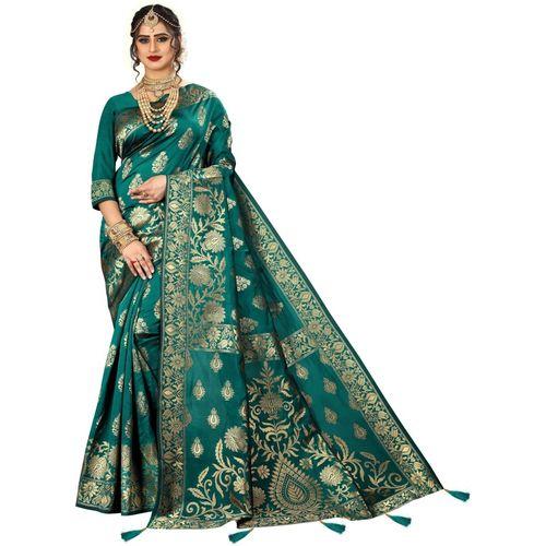 Being Banarasi Self Design, Paisley, Woven, Embellished Kanjivaram Jacquard Saree(Light Blue)