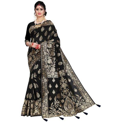 Being Banarasi Self Design, Woven, Embellished, Solid Kanjivaram Jacquard, Cotton Silk Saree(Black)