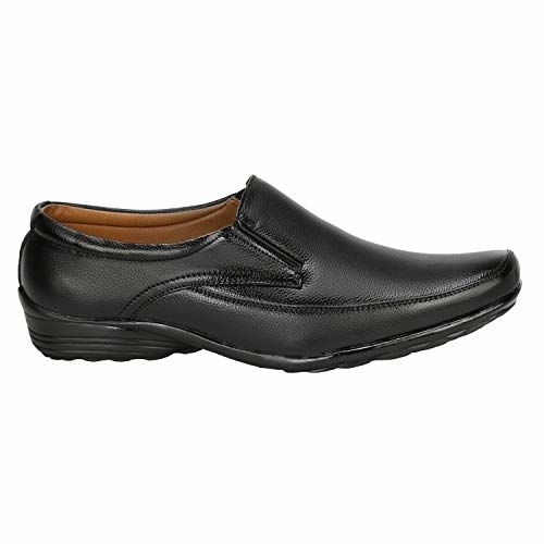 Kraasa Black Synthetic Leather Slip On Formal Shoes