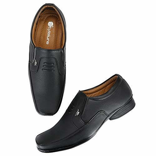 Stylelure Black Synthetic Leather Slip On Formal Shoes
