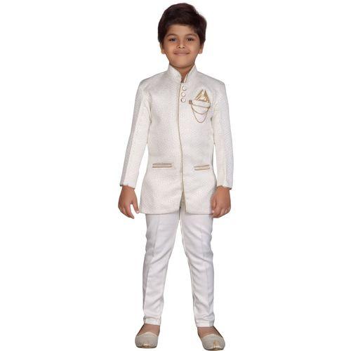 AJ Dezines Indi Boys Festive & Party Sherwani and Churidar Set(White Pack of 1)