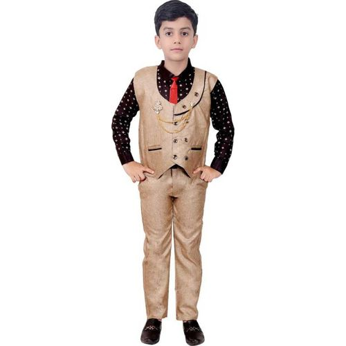 Fashion 4 Ever Boys Casual, Festive & Party Shirt, Waistcoat and Pant Set(Beige Pack of 1)