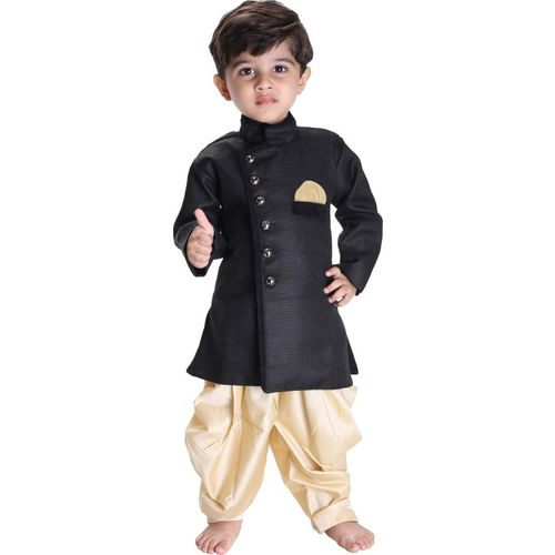 JBN Creation Boys Festive & Party, Wedding Kurta and Pyjama Set(Black Pack of 1)