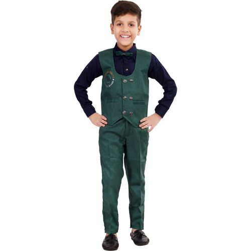 Fashion 4 Ever Boys Casual, Festive & Party Shirt, Waistcoat and Pant Set(Green Pack of 1)