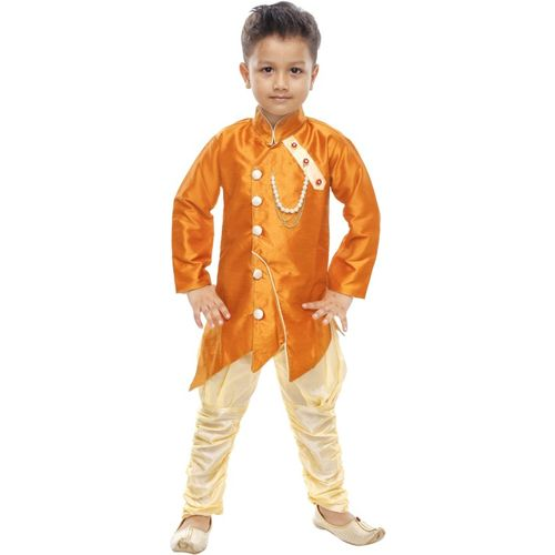 Celebrity Club Boys Festive & Party Sherwani and Churidar Set(Gold Pack of 1)