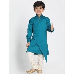 Vastramay Boys Festive & Party Kurta and Churidar Set(Blue Pack of 1)