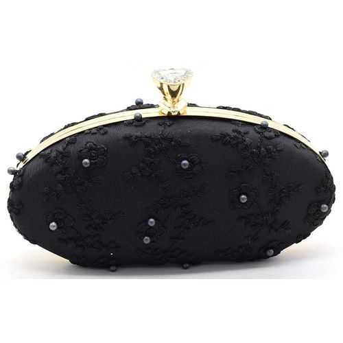 Tooba Handicraft Party Black Clutch