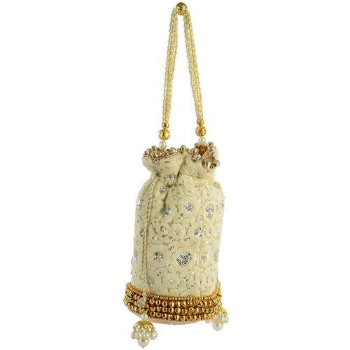 Tooba Handicraft Party White Clutch