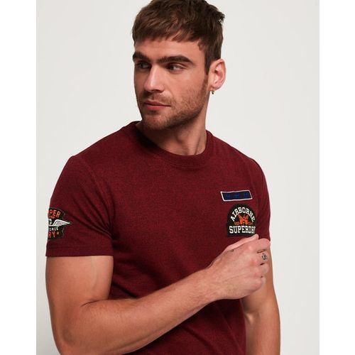 SUPERDRY Heathered Crew-Neck T-shirt with Applique