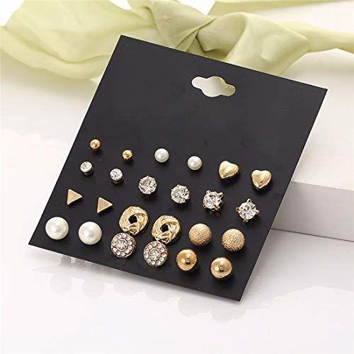 Jewels Galaxy Women's Fashion AAA AD Heart Round and Geometric Designs Stud Earrings For Women/Girls