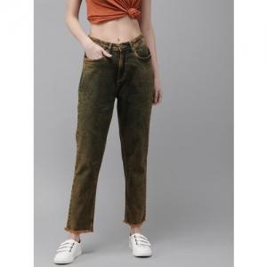 Roadster Women Green & Rust Orange Boyfriend Fit High-Rise Clean Look Jeans