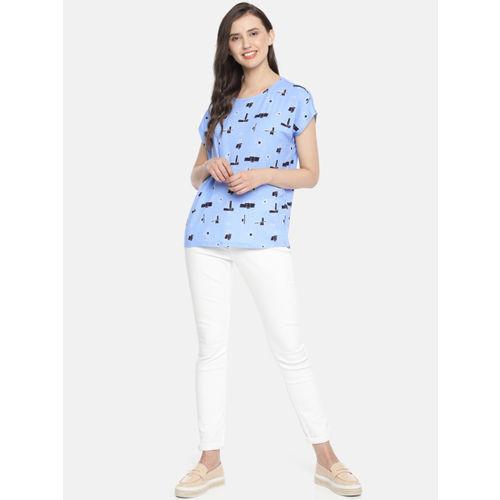 Vero Moda Women Blue Printed Top