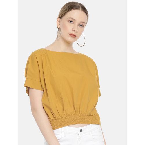 Vero Moda Women Mustard Yellow Solid Crop Top