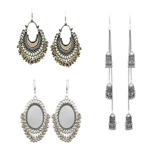 Minha Fashion Minha Best combo of fashion oxidised earring combo set pair of 3 for Women and girls