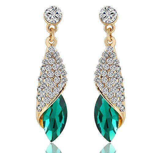 Meia Gold Plated Green Alloy Dangle Earrings For Women
