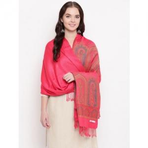 HK colours of fashion Women Coral-Coloured Woven Design Shawl
