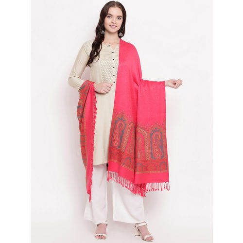 HK colours of fashion Women Coral-Coloured Woven Design Shawl