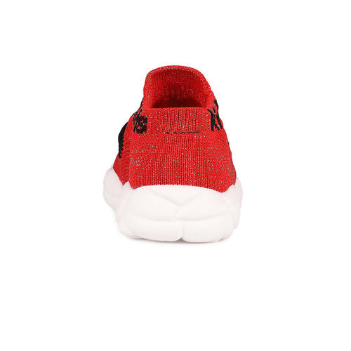 Walktrendy Kids Unisex Red Solid Synthetic Leather Mid-Top Sneakers