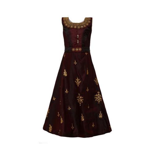 Aarika Girls Embellished Brown Maxi Dress