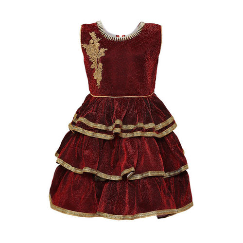 Aarika Girls Maroon Self Design Fit and Flare Dress