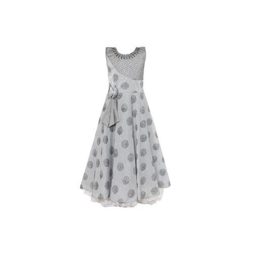 Aarika Girls Grey Printed Maxi Dress