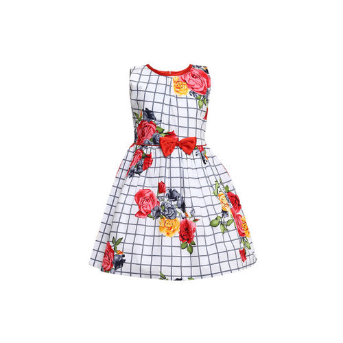 Aarika Girls Off-White Printed Fit and Flare Dress