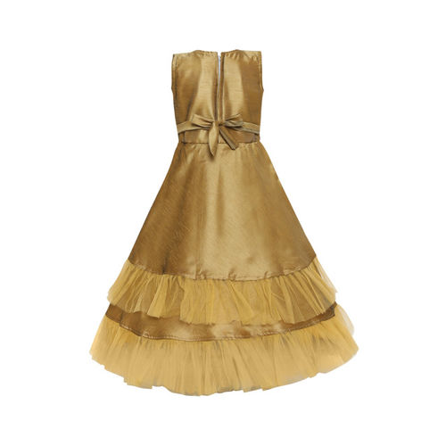 Aarika Girls Solid Gold-Toned Maxi Dress