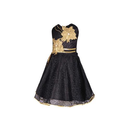 Aarika Girls Black & Gold-Toned Self Design Fit and Flare Dress