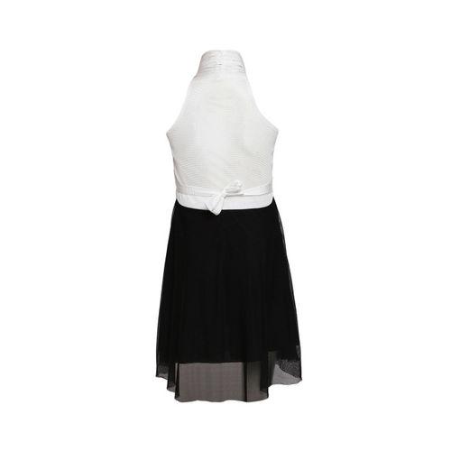 Aarika Girls White Colourblocked A-Line Dress