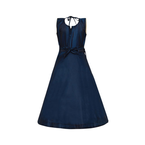Aarika Girls Navy Blue Maxi Embellished Silk Dress