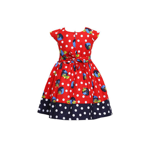 Aarika Girls Red Printed Fit and Flare Dress