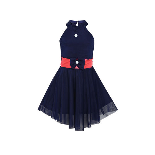 Aarika Girls Navy Blue Solid Fit and Flare Dress