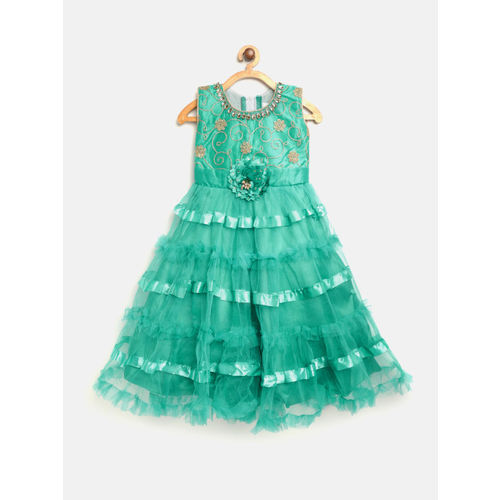 Aarika Girls Green Solid Net Layered Maxi Dress with Embroidered Detail