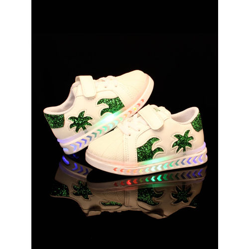 Walktrendy Kids Pink & Green Sneakers With LED Lights